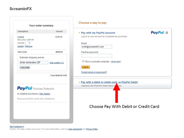How to use a Credit Card instead of a Paypal Account
